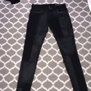 BLACK SIZE 27 JEANS WITH LEATHER PATCHES